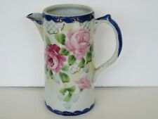 "Vintage Hand Painted Cobalt Pink Rose Floral Japan Porcelain Pitcher ( 7 1/8"")"