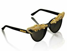 BNIB ANNA DELLO RUSSO For H&M RARE Gold Crocodile Alligator Golden Sunglasses