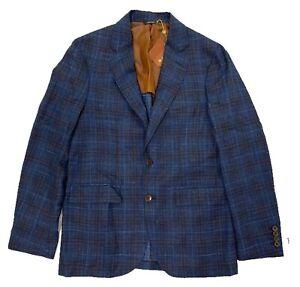 $3,000 Loro Piana Blue Wool Silk Linen Blazer Size US 40, EU 50 Made in Italy
