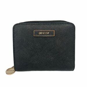 DKNY Black 100% Genuine Leather Small Zip Around Purse 12 X 11 X 3CM  - Z05