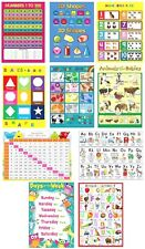 CHILDRENS KIDS EDUCATIONAL LEARNING POSTERS x 10 CHARTS A4 NURSERY SCHOOL HOME