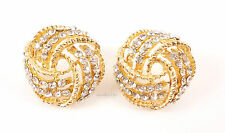 Gold Crystal Decorative Weave Costume Jewellery Stud Earrings