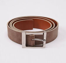 NIB $295 SANTONI Dove Beige Calf Suede Belt 48 W (120cm) Silver Buckle