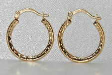 9ct Yellow Gold Patterned Creole Hoop Earrings