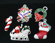 10 PCs Mixed SP Enamel Christmas Lots Charms Pendants
