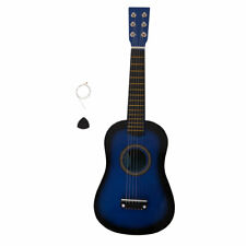 "23"" Acoustic Guitar+Pick+Strings Blue Plywood Basswood Toy Level for Kids Child"