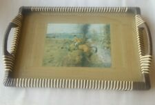 Vintage Wood Serving Tray with Horse Motif Inset, Glass Cover & Wrapped Edges