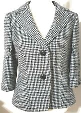 Ann Taylor Houndstooth Jacket Black White 100% Wool Size 10 Mid Sleeve Lined
