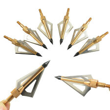 12pcs golden broadheads 3fixed blade 100grain arrow heads for archery hunting
