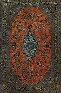 Floral Traditional ORANGE Handmade Area Rug Evenly Low Pile Oriental Carpet 8x12