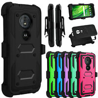 For Motorola Moto G6 Play G7 Plus Case With Belt Clip Holster Stand Rugged Cover