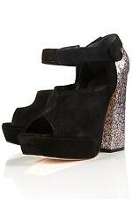 New TOPSHOP Premium PRESLEY glitter heel platforms UK 4 in Black