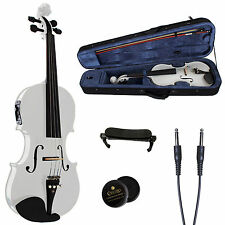 CECILIO ACOUSTIC ELECTRIC VIOLIN PEARL WHITE EBONY FITTED CVNAE-White