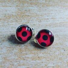 Ladybug Marienkäfer Cabochon Ohrringe für Kinder Ohrclips Clips schwarz rot