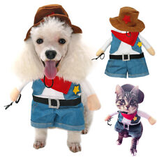 Cowboy Dog Costume Funny Party Pet Cosplay Clothes Denim for Puppy Cats S-XL