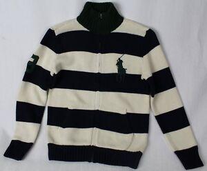 Children POLO Ralph Lauren Cream Navy Half 1/2 Zip Sweater Big Green Pony NWT