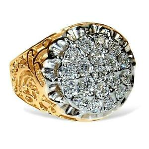 1.00 CT 14K YELLOW GOLD OVER MEN'S KENTUCKY CLUSTER DIAMOND RING