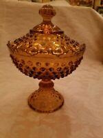 VINTAGE INDIANA HOBNAIL LIDDED AMBER GLASS CANDYDISH