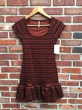 $118 Free People Cozy Day Copper Black Knit Sweater Dress Tunic XS RARE*