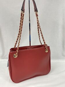 NEW INC Deliz Chain Strap Faux Leather Shoulder Bag NWT $89 Dark Red Organizer!