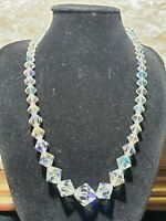 Vintage Necklace Aurora Borealis Crystal Faceted Graduated Beads Iridescent