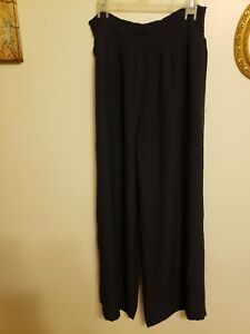 Cato Pitch Navy Blue Rayon Smocked Elastic Waist Pants Size Large New with tags