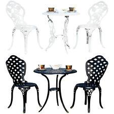Bistroset Garten Tisch 2 Sitzhocker Bistro Set Gartenmöbel Weiß Gusseisen Balkon