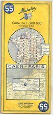 """Carte Touristique Michelin """" Caen, Paris """"1/200000  - N°55"""