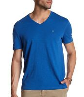 John Varvatos Star USA Men's Short Sleeve Peace Sign V Neck Tee Shirt Blue Large