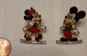 2 JAYCEES Collectible Pins LOUISIANA Mickey & Minnie Mouse hat lapel screwbacks