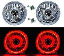 "7"" Halogen LED Red Halo Angel Eyes Headlight Headlamp H4 Light Bulbs Pair"