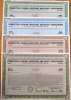 Connecticut General Mortgage & Realty SPECIMEN Bond Certificates - 4 DIFFERENT B