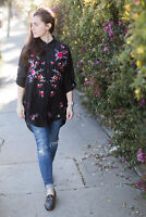 ZARA SILK BLEND BLACK FLORAL EMBROIDERED SHIRT TUNIC TOP DRESS XS S M EMBROIDERY