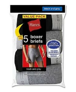 "Hanes® Men's TAGLESS 5-BOXER BRIEFS   ""FreshIQ & Comfort Flex® Waistband""  NEW!!"