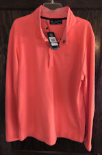 Under Armour Loose Golf Mens Cold Gear Snap Mock Pullover Shirt Coral Xxl