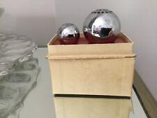 New ListingArt Deco Chrome Chase Ball Salt Pepper Shaker W/box Sphere