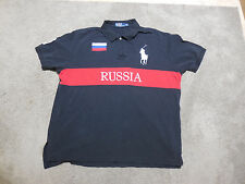 Ralph Lauren Polo Shirt Adult 2XL XXL Big Pony Red Black RUSSIA Rugby Mens