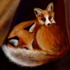 """ Little Foxes "" Original Art Painting Print Fox Orange Brown Tree Drawing Art"