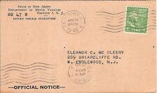 USA  PERFIN postcard SNJ  Dep. MOTOR VEHICLES New Jersey