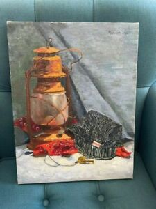 Signed M. Russell Painting Railroad Lantern, Whistle, Bandana, RUSS Hat, etc.