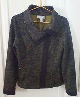 Joseph Ribkoff Womens 10 Medium Black Green Fitted Stretch Zip Blazer Jacket