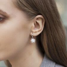 925 Sterling Silver Drop Earrings Crystal Clear Frosty Flower Bridal Earrings