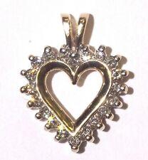 10k yellow gold .50ct SI2 H womens diamond heart pendant 2.8g estate vintage