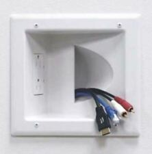 Recessed Audio Video Power Cable Pass Through Wall Plate + Double Outlet