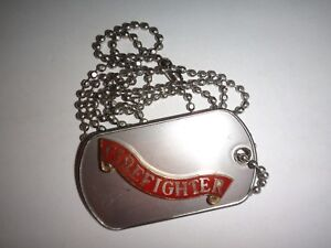 Stainless Steel Dog Tag FIREFIGHTER Insignia + Ball Chain Unused