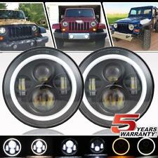 7 Inch Round LED Headlights Halo Angle Eyes For Jeep JK TJ CJ Series CJ5 CJ6 CJ7