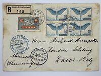 1938 ZURICH SWITZERLAND TO DAVOS SWISS ALPS VIA STOCKHOLM, UNIQUE PLANE CANCEL