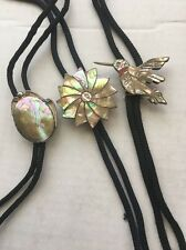 LOT OF 3 H. GARDNER STERLING SILVER MOTHER OF PEARL BOLO HUMMINGBIRD STAR