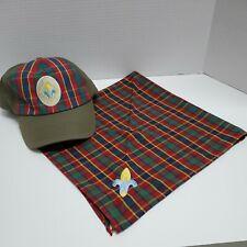Webelos Boy Scout Uniform Hat & Neckerchief Plaid BSA - Preowned