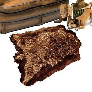 Faux Fur Deer Skin, Shag Bear Area Rug, Wolf, Brown  Fur Border, Suede Lining
